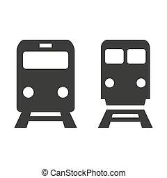アイコン, 白, バックグラウンド。, 列車