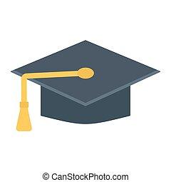 アイコン, 知識, 卒業, 平らな帽子, 教育