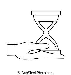 アイコン, 砂時計, 持ち上がること, 手, タイマー