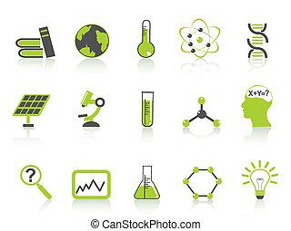 アイコン, 科学, セット, シリーズ, 緑, 単純である