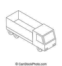 アイコン, 等大, トラック, スタイル, 3d