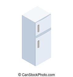 アイコン, 等大, 3d, スタイル, 冷蔵庫