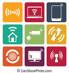 アイコン, 網, セット, 無線の技術