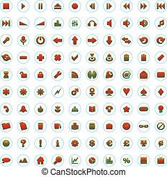 アイコン, 網, 十分に, 1(人・つ), ベクトル, editable, 百