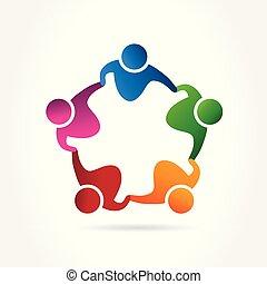 アイコン, 網, 抱擁, ロゴ, ベクトル, 人々, イメージ, テンプレート, チームワーク