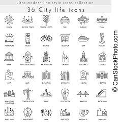 アイコン, 網, 生活, 現代, ultra, アウトライン, ベクトル, 都市, 線, apps.