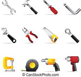 アイコン, 網, -, 道具, 手
