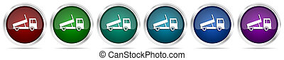アイコン, 網, 隔離された, 交通機関, 白, 色, ゴミ捨て場, セット, 輸送, オプション, 背景, 銀, グロッシー, 金属, ボタン, 6, トラック