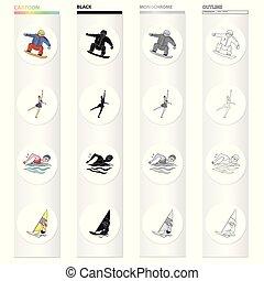 アイコン, 網, style., スポーツ, 勝利, セット, 他, アイコン, 板, 漫画, 達成, スケートボード, collection.