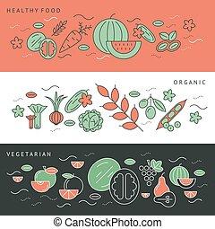 アイコン, 緑, デジタル, 野菜, 黒い赤
