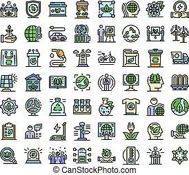 アイコン, 線, セット, 色, 生態学者, ベクトル