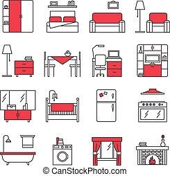 アイコン, 線, 家具, セット