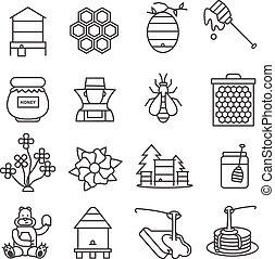 アイコン, 線, 蜂蜜, セット
