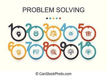 アイコン, 考え, チームワーク, template., デザイン, 問題, ブレーンストーミング, infographic, 分析, 解決
