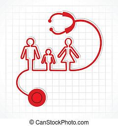 アイコン, 聴診器, 作りなさい, 家族