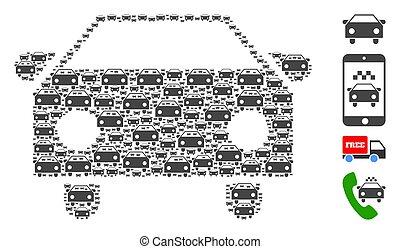 アイコン, 自動車, モザイク, recursion, 自己