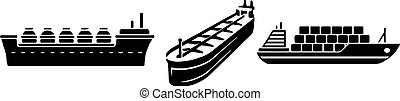 アイコン, 船, 背景, タンカー, 隔離された, 白, オイル