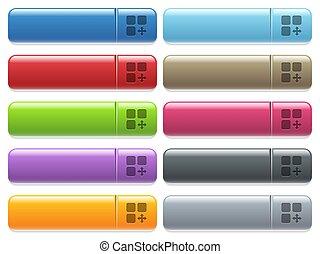 アイコン, 色, メニュー, ボタン, 動きなさい, コンポーネント, 長方形, グロッシー