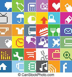 アイコン, 色, 媒体, 現代, ボタン, 社会, インターフェイス