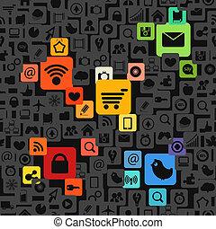 アイコン, 色, 媒体, 現代, seamless, 手ざわり, 社会