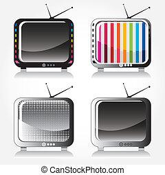 アイコン, 色, 4, tv, レトロ, 流行