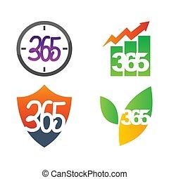 アイコン, 葉, 時間, ロゴ, 無限点, イラストビジネス, 365, 保護