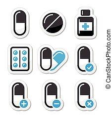 アイコン, 薬物, セット, ベクトル, 丸薬
