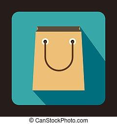 アイコン, 袋, スタイル, ペーパー, 平ら