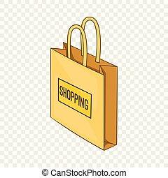 アイコン, 袋, 等大, 買い物, スタイル