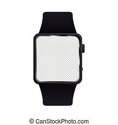 アイコン, 装置, 隔離された, mockup, smartwatch