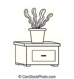 アイコン, 装飾用である, nightstand, 植物