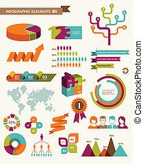 アイコン, 要素, infographics