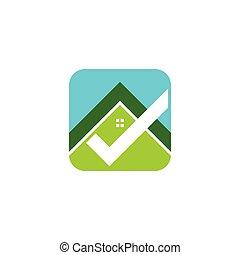 アイコン, 財産, デザイン, ロゴ, 実質, 家