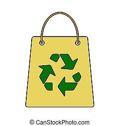 アイコン, 買い物袋, リサイクルしなさい, 印