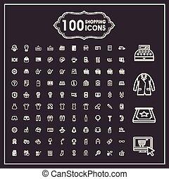 アイコン, 買い物, セット, 優雅である, 100
