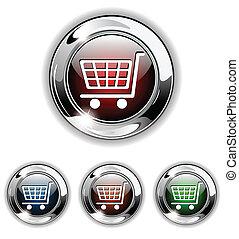 アイコン, 買い物, ベクトル, イラスト, ボタン