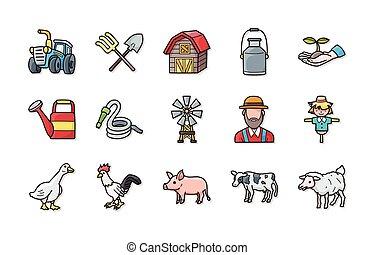 アイコン, 農業, セット, eps10, 農業