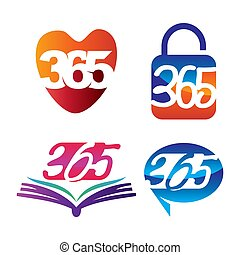 アイコン, 連絡, 錠, ロゴ, 愛, 無限点, デザイン, イラスト, 365, 本