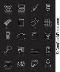 アイコン, 道具, セット, アイコン, オフィス, ベクトル