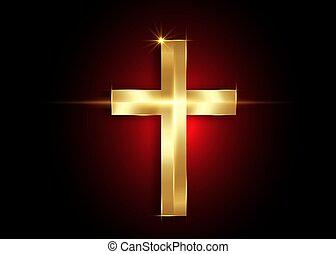 アイコン, 金, キリスト教徒, キリスト教, 信頼, シンボル。, 交差点, 背景, 隔離された, 黒