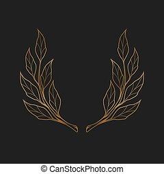アイコン, 金, 手, 単純である, 月桂樹, バックグラウンド。, 花輪, 黒, 引かれる