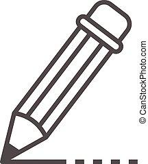 アイコン, 鉛筆, スタイル, アウトライン, 執筆