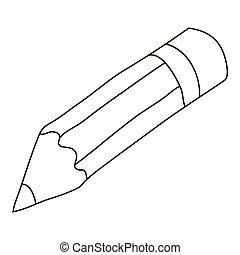 アイコン, 鉛筆, スタイル, アウトライン