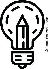 アイコン, 鉛筆, スタイル, アウトライン, 電球