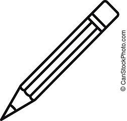 アイコン, 鉛筆, スタイル, 建設, アウトライン