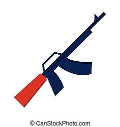 アイコン, 銃, 日, 祝福, アメリカ人, スタイル, 記念, 平ら, 軍