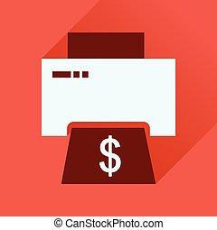 アイコン, 長い間, お金, 影, 平ら, 印刷