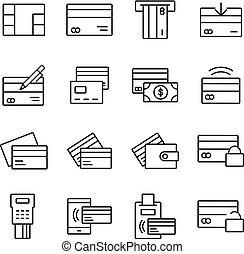アイコン, 関係した, クレジット, ベクトル, 線, カード