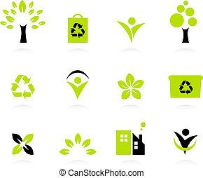 アイコン, 隔離された, セット, 環境, 自然, エコロジー, 白