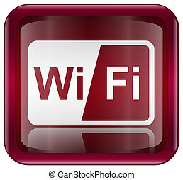 アイコン, 隔離された, 背景, 白, wi - fi, 赤